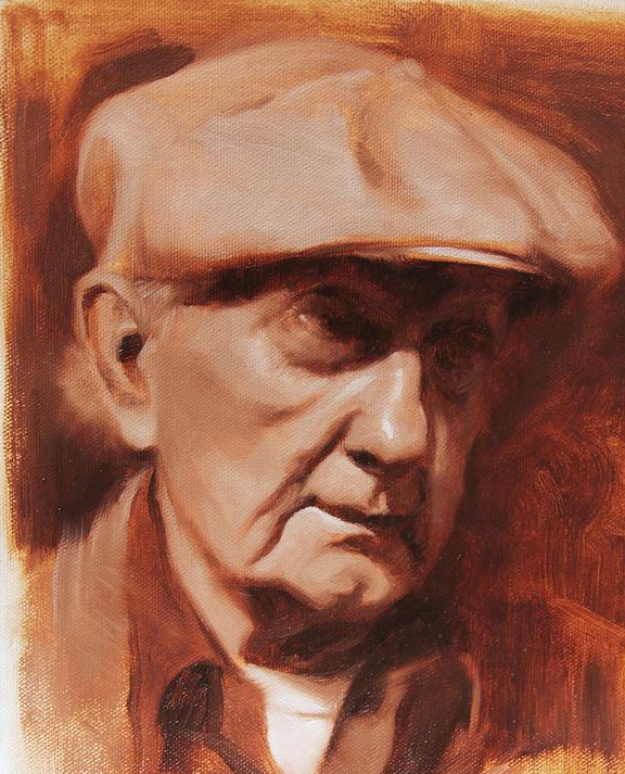 Old Man Painting - Jim In Monochrome by Anna Rose Bain